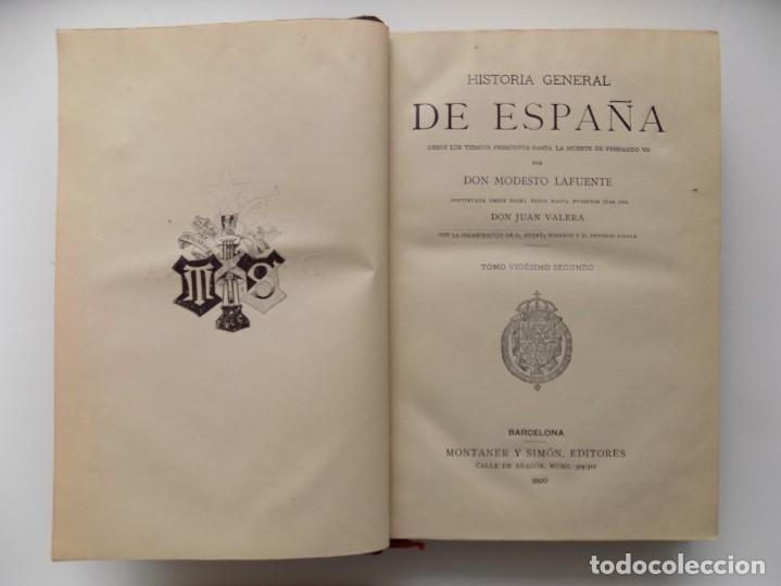 Libros antiguos: LIBRERIA GHOTICA. LUJOSA EDICIÓN DE LAFUENTE.HISTORIA DE ESPAÑA.1890.MONTANER Y SIMON. XXII.GRABADOS - Foto 4 - 264456249