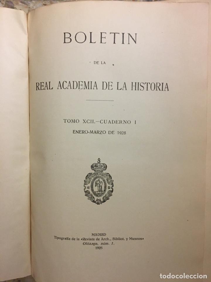 Libros antiguos: Boletín de la real academia de la historia 1929/1933 - Foto 6 - 266934989