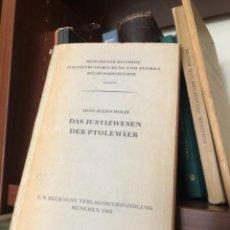 Libros antiguos: DAS JUSTIZWESEN DER PTOLEMÄER WOLFF. Lote 268814019