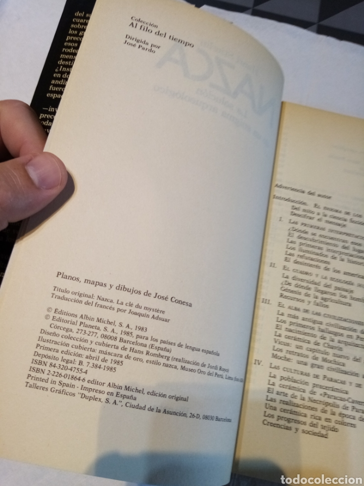 Libros antiguos: Libro Nazca. La solución de un enigma arqueológico. Henri Stierlin. Planeta. 1983 - Foto 4 - 268910654