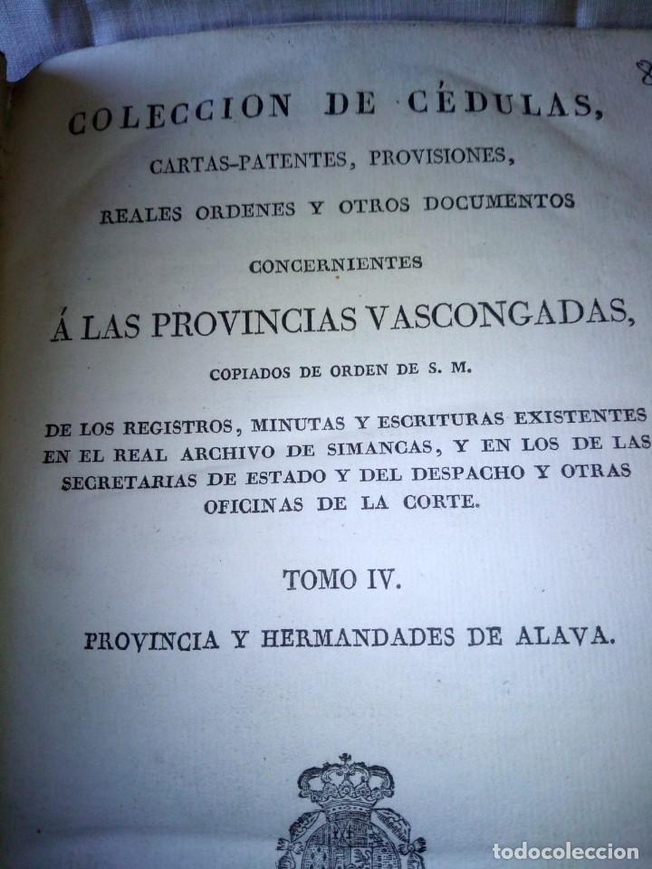 Libros antiguos: ~~~~ CÉDULAS CONCERNIENTES A LAS VASCONGADAS 1830, TOMO IV HERMANDADES DE ALAVA ~~~~ - Foto 5 - 268966979