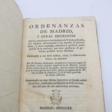 Libros antiguos: ORDENANZAS DE MADRID Y OTRAS DIFERENTES AÑO 1820. Lote 275141338