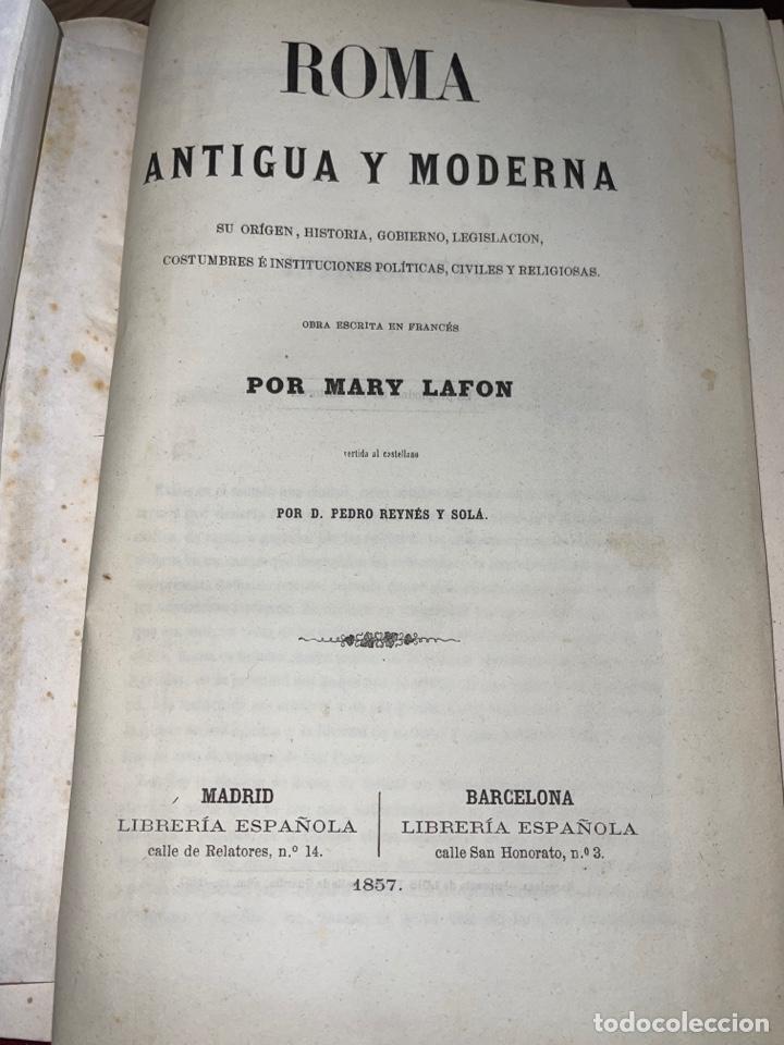 Libros antiguos: L- Roma Antigua y Moderna. Mary Lafon, 1857. La tapa del libro no es la original. - Foto 6 - 277417358
