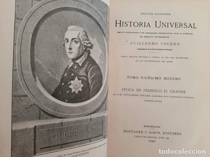 Libros antiguos: HISTORIA UNIVERSAL G. ONCKEN TOMO 29 EPOCA DE FEDERICO EL GRANDE .ED. MONTANER Y SIMON 1920 - Foto 2 - 277636118