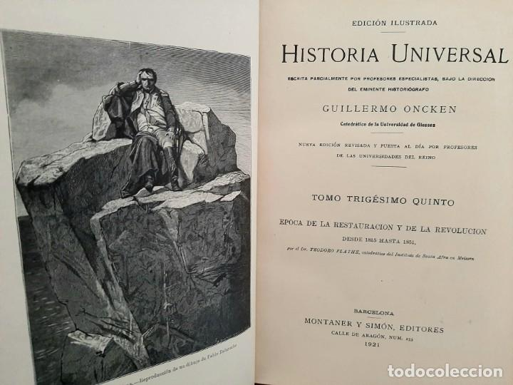 Libros antiguos: HISTORIA UNIVERSAL G. ONCKEN TOMO 35 EPOCA RESTAURACIÓN Y REVOLUCIÓN .ED. MONTANER Y SIMON 1921 - Foto 2 - 277690603