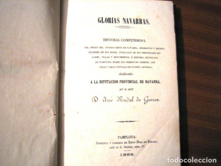 GLORIAS NAVARRAS- 1866- JOSE NADAL DE GURREA (Libros antiguos (hasta 1936), raros y curiosos - Historia Antigua)