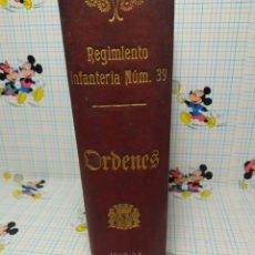 Libros antiguos: REGIMIENTO INFANTERIA,N° 39 ORDENES 1933/34. Lote 293233303