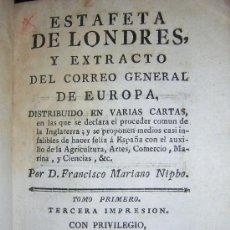Libros antiguos: 1786 - FRANCISCO MARIANO NIPHO - ESTAFETA DE LONDRES Y CORREO GENERAL DE EUROPA. Lote 27586642