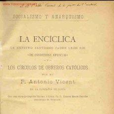 Libros antiguos: 1893: SOCIALISMO Y ANARQUISMO - VICENT, ANTONIO -. Lote 25610444