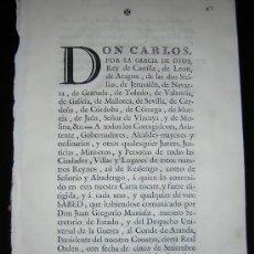 Alte Bücher - 1768 - CARLOS III - CARTA REAL IMPRESA SOBRE LA NECESIDAD DE TROPAS DURANTE LAS FIESTAS PUBLICAS - 22148213