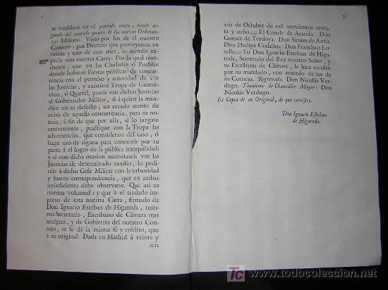 Libros antiguos: 1768 - CARLOS III - CARTA REAL IMPRESA SOBRE LA NECESIDAD DE TROPAS DURANTE LAS FIESTAS PUBLICAS - Foto 2 - 22148213