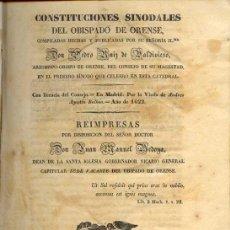 Libros antiguos: 1843: CONSTITUCIONES SINODALES DEL OBISPADO DE ORENSE. Lote 22448343