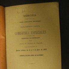 Libros antiguos: MEMORIA DE LAS COMISIONES ESPECIALES DE LAS DIPUTACIONES DE ÁLAVA, GUIPÚZCOA Y VIZCAYA. AÑO 1900.. Lote 23277912