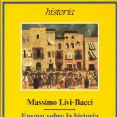 Libros antiguos: MASSIMO LIVI-BACCI: ENSAYO SOBRE LA HISTRORIA DEMOGRÁFICA EUROPEA. POBLACIÓN Y ALIMENTACIÓN EN EUROP. Lote 32119025
