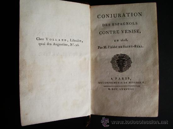 1788-CONSPIRACIÓN DE LOS ESPAÑOLES EN VENECIA, EN 1618.ESPAÑA.ITALIA (Libros antiguos (hasta 1936), raros y curiosos - Historia Moderna)
