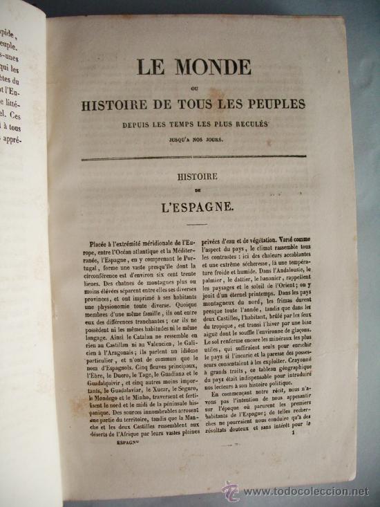 Libros antiguos: 1859-HISTORIA DE ESPAÑA.LE MONDE.PARÍS - Foto 4 - 32914716