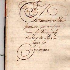 Libros antiguos: DOCUMENTO DE 1745,REY DE PRUSIA,,JUSTIFICACIÓN DE LA GUERRA CON HUNGRIA Y BOHEMIA. Lote 34507681