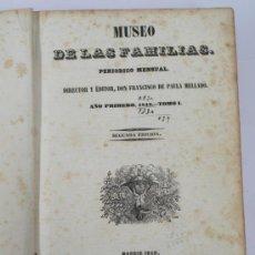Libros antiguos: MUSEO DE LAS FAMILIAS, PERIÓDICO MENSUAL, AÑO 1843 TOMO 1. MADRID 1846. 19X27 CM. . Lote 35166792