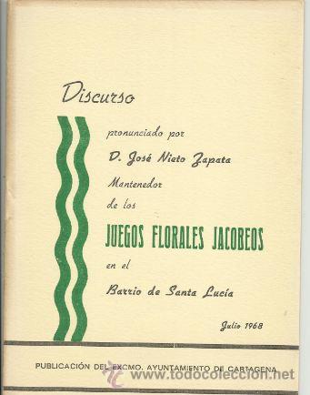 LIBRO CUADERNO JUEGOS FLORALES JACOBEOS BARRIO SANTA LUCIA CARTAGENA MURCIA ,OPUSCULO 16 PAGINAS,AÑ (Libros antiguos (hasta 1936), raros y curiosos - Historia Moderna)