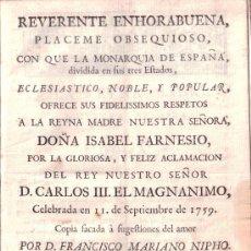 Alte Bücher - Reverente enhorabuena [...] por la aclamación de Carlos III. Francisco Mariano Nipho. Madrid, 1759 - 36380949