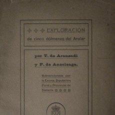 """Libros antiguos: TELESFORO ARANZADI – FLORENCIO ANSOLEAGA """"EXPLORACIÓN 5 DÓLMENES EN ARALAR"""" - NAVARRA. Lote 44329243"""
