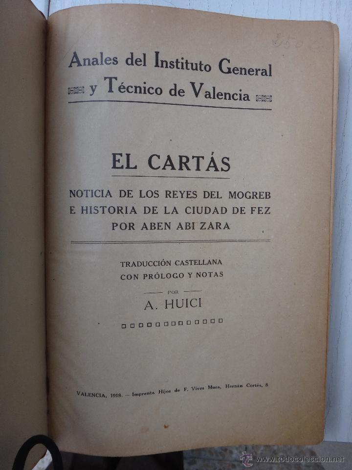 LIBRO RUD EL CARTAS , HUICI , ANALES INSTITUTO GENERAL VALENCIA , 1918 , ORIGINAL (Libros antiguos (hasta 1936), raros y curiosos - Historia Moderna)