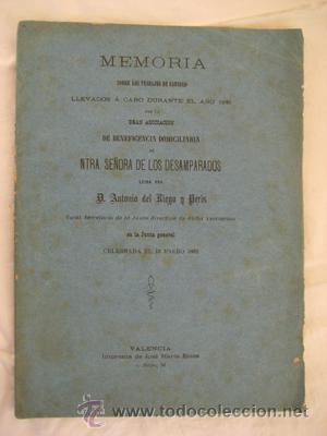 MEMORIA ASOCIACIÓN DE BENEFICENCIA SEÑORA DE LOS DESAMPARADOS. VALENCIA 1881 (Libros antiguos (hasta 1936), raros y curiosos - Historia Moderna)