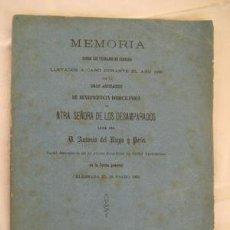 Libros antiguos: MEMORIA ASOCIACIÓN DE BENEFICENCIA SEÑORA DE LOS DESAMPARADOS. VALENCIA 1881. Lote 50259657