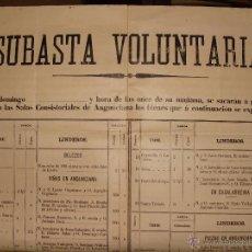 Libros antiguos: CARTEL SUBASTA 70X47 CM. 1894 HARO, LA RIOJA. VIÑAS, TIERRAS, EDIFICIOS. VINOS. ANGUCIANA, CASALARRE. Lote 54227682