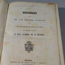 Libros antiguos: DISCURSOS DE POSESIÓN DE PLAZAS ACADEMIA DE LA HISTORIA 1852-1858. Lote 56082082