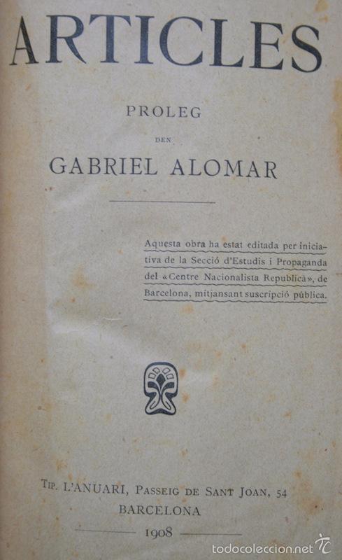 Libros antiguos: ARTICLES - Pi i Margall / Gabriel Alomar --- 1908 - Foto 2 - 34398920