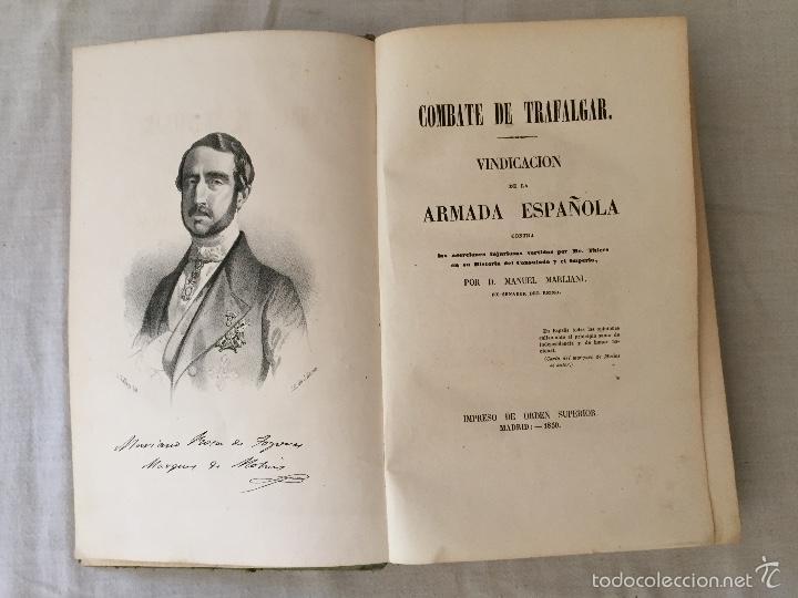 Libros antiguos: COMBATE DE TRAFALGAR, (CON PLANO) MADRID 1850, POR D.MANUEL MARLIANI - Foto 8 - 57727630