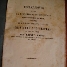Libros antiguos: ESPLICACIONES DEL AUTOR DEL FOLLETO TITULADO CRISTIANO-SOCIALISTAS. PALMA DE MALLORCA, 1855.. Lote 57935984