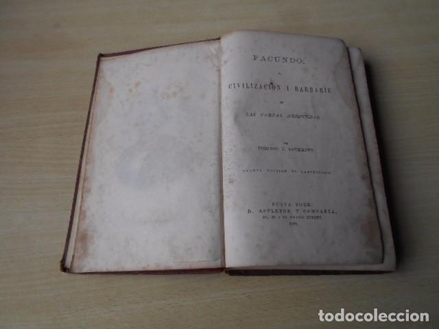 Libros antiguos: Facundo; ó Civilización i Barbarie en las Pampas Arjentinas 1868 Sarmiento con retrato. - Foto 4 - 62532392