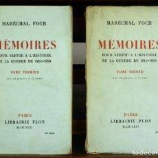 Libros antiguos: 8155 - MÉMOIRES POUR SERVIR A L'HISTOIRE DE LA GUERRE. 2 TOMOS(VER DESCRIP). LIB. PLON.1931.. Lote 66063818