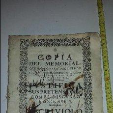 Libros antiguos: COPIA MEMORIAL DE JOSEPH CASANOVAS 1716. Lote 67337105