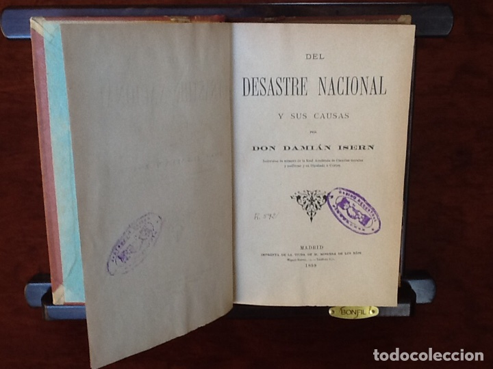DEL DESASTRE NACIONAL Y SUS CAUSAS DAMIÁN ISERN MADRID AÑO 1899 (Libros antiguos (hasta 1936), raros y curiosos - Historia Moderna)