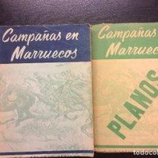 Libros antiguos: CAMPAÑAS EN MARRUECOS, CON LA CARPETA DE PLANOS, APUNTES DE HISTORIA MILITAR 1859 A 1927, PERALES. Lote 67863013