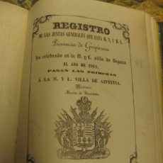 Libros antiguos: -JUNTAS GENERALES-, GUIPÙZCOA, AÑO 1861.. Lote 70546277