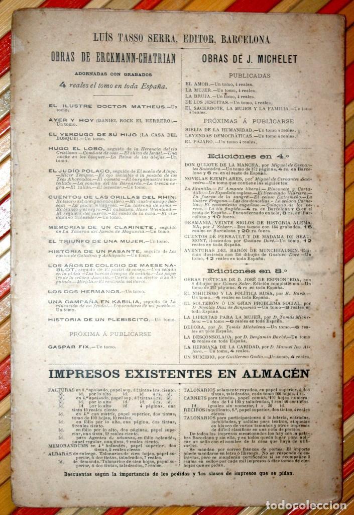 Libros antiguos: HISTORIA DE UN PLEBISCITO CONTADA POR UNO DE LOS 7.500.000 SÍ, 1885 ERCKMANN-CHATRIAN - Foto 2 - 76680071