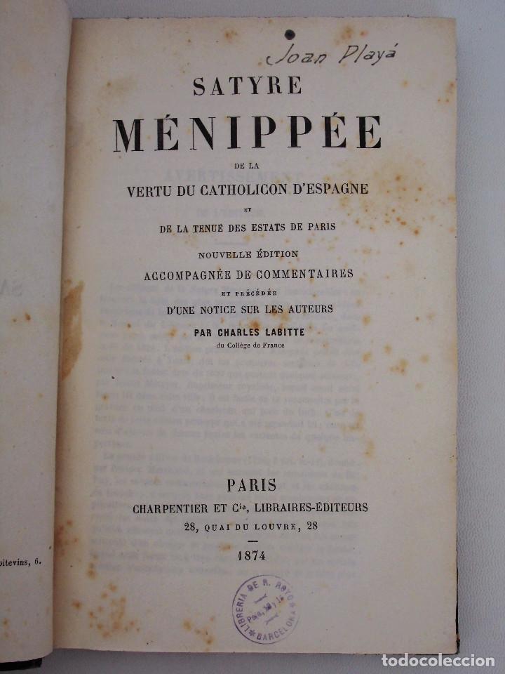 Libros antiguos: SÁTIRA MENIPEA O DE LA VIRTUD DEL CATÓLICO DE ESPAÑA (1874). LIBRO SATÍRICO, OBRA COLECTIVA. - Foto 3 - 76763031
