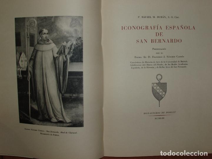 Libros antiguos: ICONOGRAFIA ESPAÑOLA DE SAN BERNARDO, RAFAEL M. DURÁN. 1953. 100 LAMINAS. - Foto 2 - 79054957