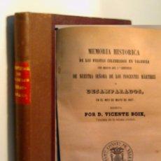 Libros antiguos: MEMORIA HISTORICA DE LAS FIESTAS CELEBRADAS EN VALENCIA...BOIX VICENTE. 1867. Lote 96356743