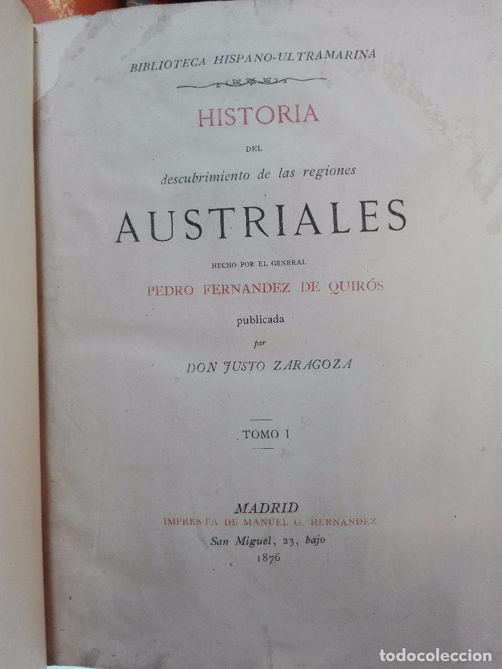 Libros antiguos: HISTORIA DEL DESCUBRIMIENTO DE LAS REGIONES AUSTRIALES - PEDRO FERNANDEZ DE QUIRÓS - 2 TOMOS - 1876 - Foto 3 - 100473423