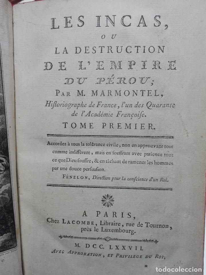 Libros antiguos: LES INCAS OU LA DESTRUCTION DE LEMPIRE DU PÉROU - 2 TOMOS - M. MARMONTEL - PARIS - 1777 - - Foto 3 - 101121495