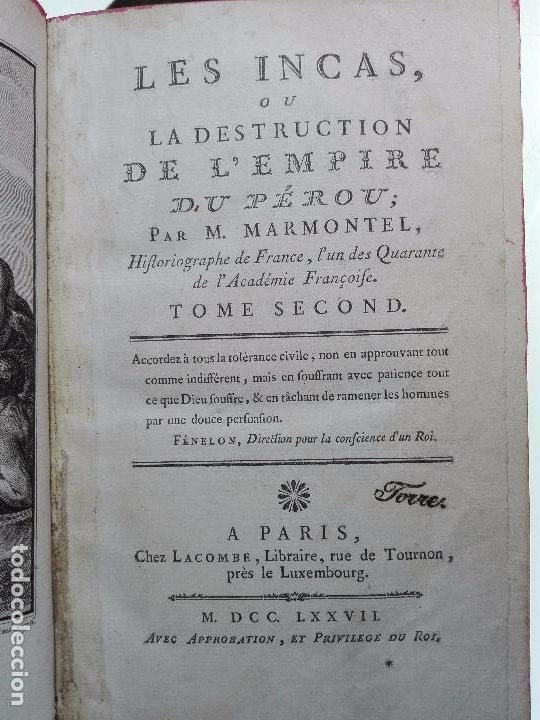 Libros antiguos: LES INCAS OU LA DESTRUCTION DE LEMPIRE DU PÉROU - 2 TOMOS - M. MARMONTEL - PARIS - 1777 - - Foto 10 - 101121495
