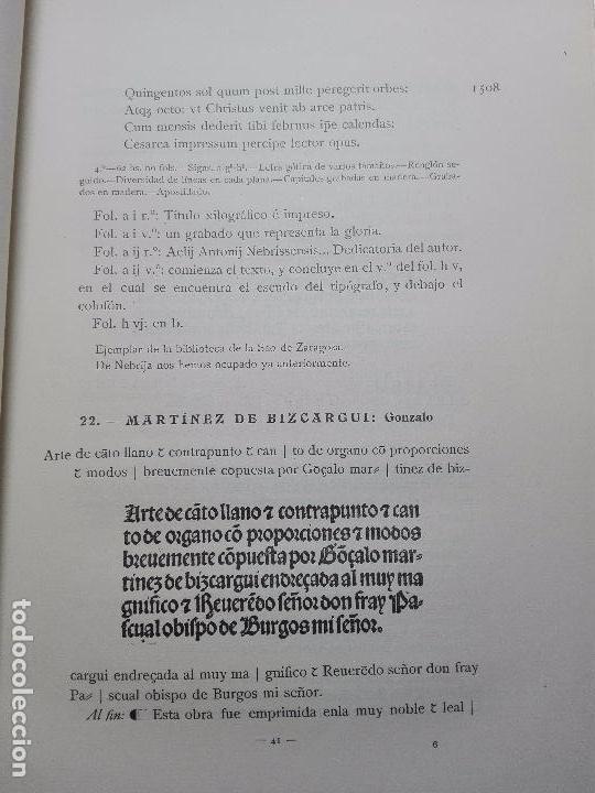 Libros antiguos: BIBLIOGRAFÍA ARAGONESA DEL SIGLO XVI ( 1501-1550 ) - JUAN M. SÁNCHEZ - 2 TOMOS - MADRID - 1913 - - Foto 6 - 101315547