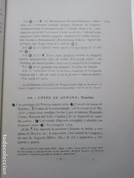Libros antiguos: BIBLIOGRAFÍA ARAGONESA DEL SIGLO XVI ( 1501-1550 ) - JUAN M. SÁNCHEZ - 2 TOMOS - MADRID - 1913 - - Foto 16 - 101315547