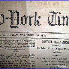 Libros antiguos: NEW YORK TIMES DEL AÑO 1872. MUY RARO.. Lote 107316059