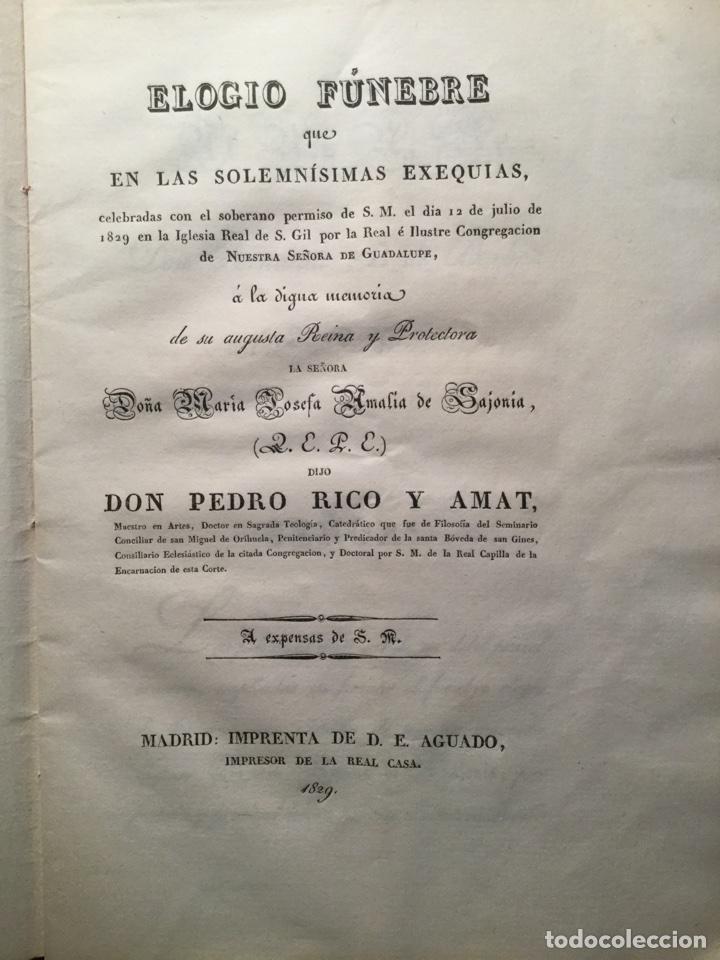 ELOGIO FÚNEBRE. REINA MARÍA AMALIA DE SAJONIA. PEDRO RICO AMAT. MADRID 1829 (Libros antiguos (hasta 1936), raros y curiosos - Historia Moderna)